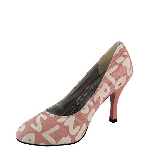Party Pump mit Aufschrift Damen Schuhe 8,5 cm Pfennigabsatz pink V1045