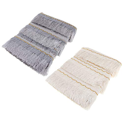 (2 Pcs DIY Tassel Fringe Lace Trimming Ribbon Curtain Pale Jade Silver Grey)