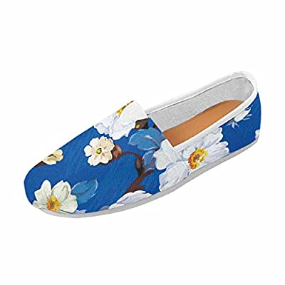 InterestPrint Women's Loafers Slip on Canvas Flats Casual Sneakers Flat Shoes Flower Background