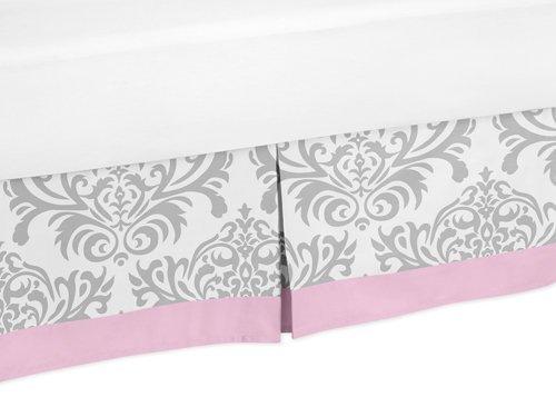 Sweet Jojo Designs Pink, Gray and White Elizabeth Bed Skirt for Toddler Bedding Sets