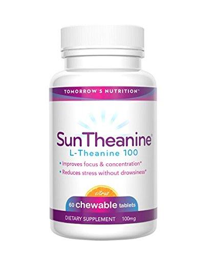 Nutrition - Suntheanine L-théanine demain, comprimés à croquer pour Stress, Concentration et Focus 100 mg - 60 comprimés