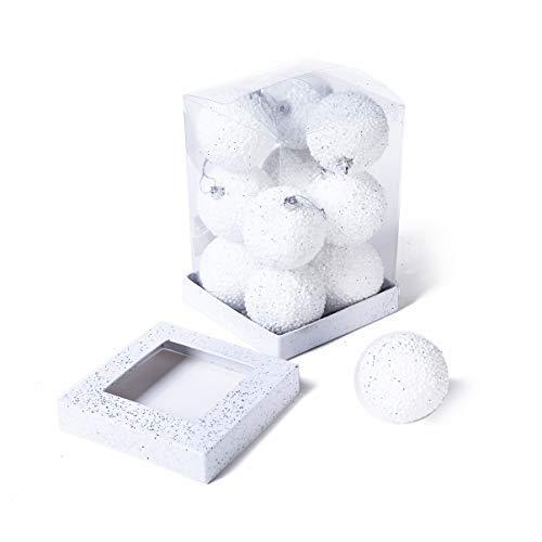 Xena 12 Piece White Elegant Vintage Shatterproof Vintage Snow Filled Christmas Tree Ball Ornaments Snowballs Decor 2.75 Inch