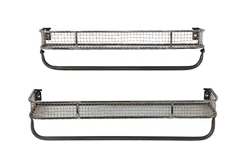 Creative Co-Op Metal Wall Shelves with Hanging Bar (Set of 2 Sizes) (Shelf Creative)