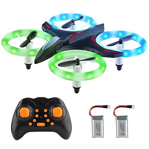 Cheap Mini Drone RC Nano Quadcopter for Kids 3D Flip, Headless Mode and Extra Batteries with Glowing LED Lights Toys for Boys and Girls