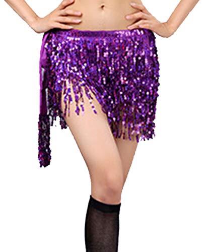 Cielary Women Belly Dancing Hip Scarf Sequin Fringe Tribal Belt,Beach Cover Up Wrap Skirt(Purple) ()