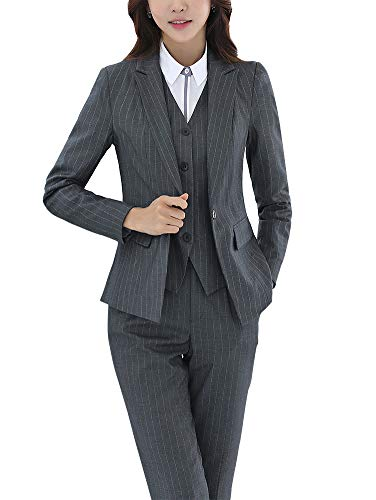 Women's Three Pieces Office Lady Stripe Blazer Business Suit Set Women Suits Work Skirt/Pant,Vest - Set Work