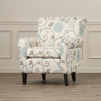 Wadham Flowered Upholstered Club Chair With Plush Cushions And Padded Arms