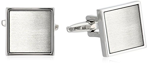 Kenneth Cole Reaction Men's Polished Square With Brushed Silver Center Cufflinks, Rhodium, One Size by Kenneth Cole REACTION