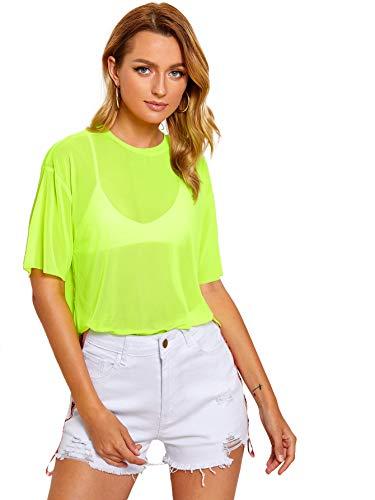 (MAKEMECHIC Women's Summer Half Sleeve Tops See Through Mesh Sheer Sexy T-Shirt Blouse 1-Green L )