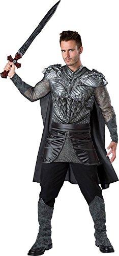 InCharacter Men's Dark Medieval Knight Costume, Silver/Black,
