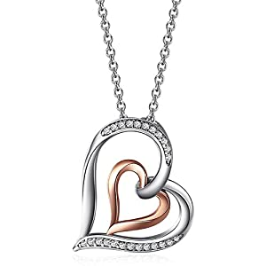 """Caperci Sterling Silver Diamond Accent Heart Pendant Necklace, 18"""""""