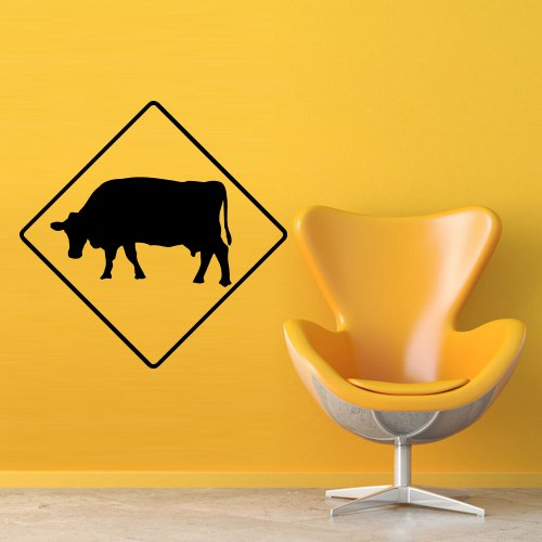 Wall Decal Sticker Vinyl Cow Sign Road Ban Carefully Animal Room - Sign Ban