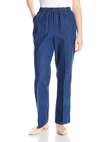 Chic Classic Collection Women's Petite Cotton Pull-On Pant with Elastic Waist, Original Stonewash Denim, 14P