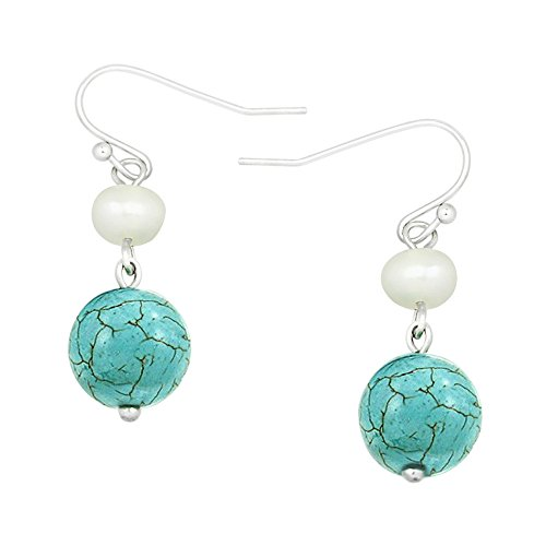 Turquoise Of Pearl Earrings Mother (Falari 10mm Round Natural Stone Earring Mother of Pearl High Polished Rhodium Turquoise)