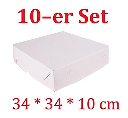 Decoración para Tartas de 10 Cajas de cartón cuadradas para Tartas con tapadera (34 x