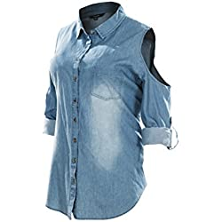 Women's Cut Out Shoulder Roll Up Long Sleeve Washed Denim Shirts Plus Size