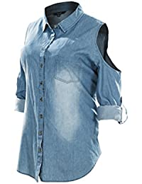 Women's Cut Out Shoulder Roll up Long Sleeve Washed Denim...