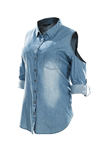 Megan apparel Women's Cut Out Shoulder Roll Up Long Sleeve Washed Denim Shirts Plus Size
