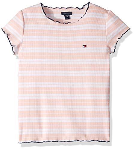 Tommy Hilfiger Big Girl's Big Girls' Short Sleeve Fashion Top Shirt, Rib Stripe Crystal Rose, L12/14