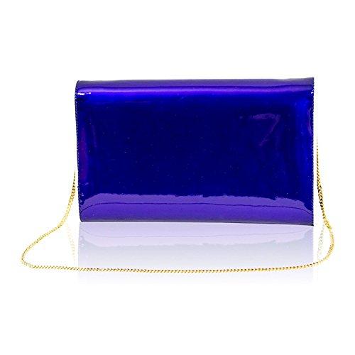 cobalt créateur à chaîne Pochette Valentino cuir bleu avec en de italien grand Orlandi portefeuille qn4ng81v