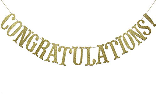 Congratulations Gold Glitter Sign Banner- Graduation, Wedding, Retirement Party Supplies Decorations (Gold)