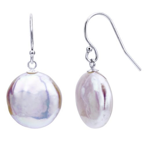 Sterling Silver 13-13.5mm Coin Shape White Freshwater Cultured Pearl Dangle (White Coin Shape)