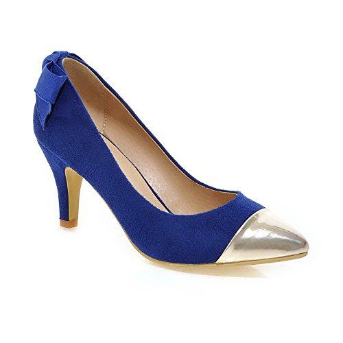 Amoonyfashion A Delle Pull Punta on Fondono Chiusi Materiali Tacchi Donne Pompe Blu Punta scarpe wIPZqP