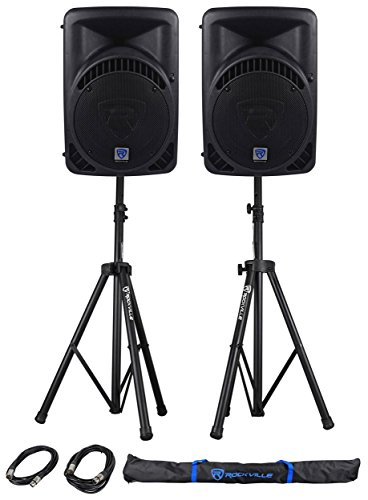 Package: (2) Rockville RPG12BT 12'' Active/Powered DJ/PA Speakers Totaling 1600 Watt With Built In Bluetooth, Graphic EQ + Rockville RVSS2-XLR Pair of Adjustable Pro Speaker Stands + (2) XLR Male to Female Cables + Carrying Case by Rockville