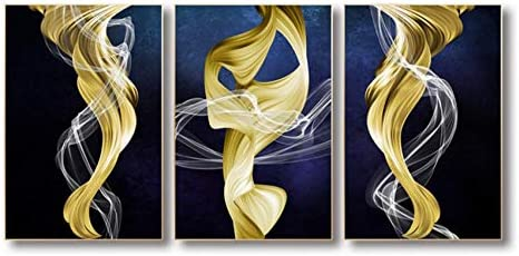 Llxhg抽象ゴールデンリボンキャンバス絵画モジュラー写真壁アートキャンバス壁ポスター装飾リビングルーム-50×70センチ×3フレームなし