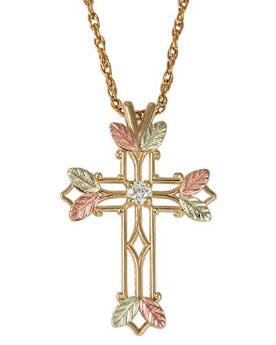 Zircon April Birthstone Cross Pendant Necklace, 10k Yellow Gold, 12k Green and Rose Gold Black Hills Gold Motif, 18