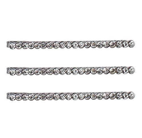 Kitsch Fashion Bobby Pin Set, Rhinestone Decorative Bobby Pins, Hair Accessories for Women, 3 Count (Straight -