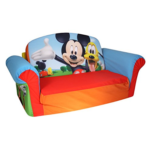 Marshmallow Furniture Children's Upholstered 2 in 1 Flip Open Sofa, Disney Mickey Mouse Club House, by Spin Master