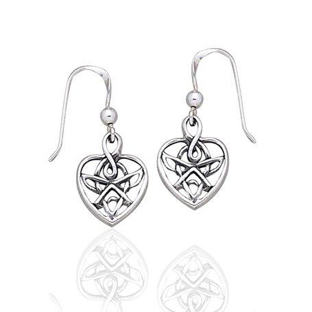 Celtic Knotted Heart Shaped Sterling Silver Hook Earrings