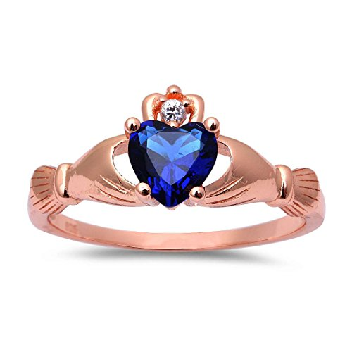 Sapphire Ring Rose (Accent Heart Promise Claddagh Ring Simulated Sapphire Round CZ Rose Tone Plated 925 Sterling Silver, Size-8)