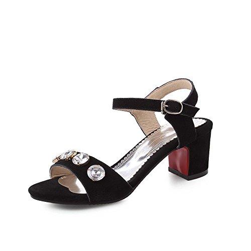 Women's Heels Black Sandals AllhqFashion Open PU Buckle Kitten Toe Solid Frosted wgqTdx6Y