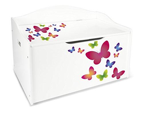 acheter en ligne 1ae58 18479 Coffre XL à Jouets En Bois Motif: Papillons Colores Récipient Pour Les  Jouets Banc Reglable Excellent Qualité Le Coffre De Rangement Pour Enfant  ...