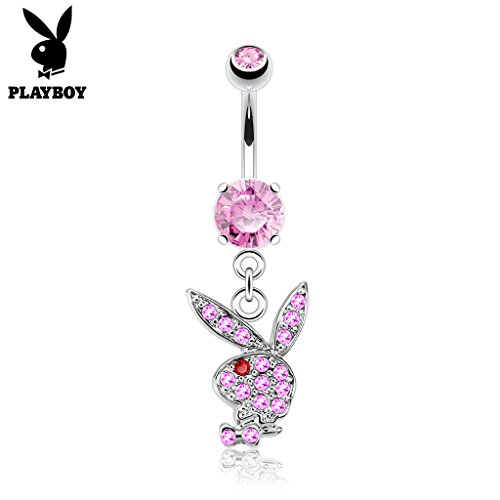 West Coast Jewelry {Pink/Red} Multi Paved Gems on Playboy Bunny Dangle Surgical Steel Navel Belly Button Ring (Sold Ind.) (Bunny Belly Button Rings)