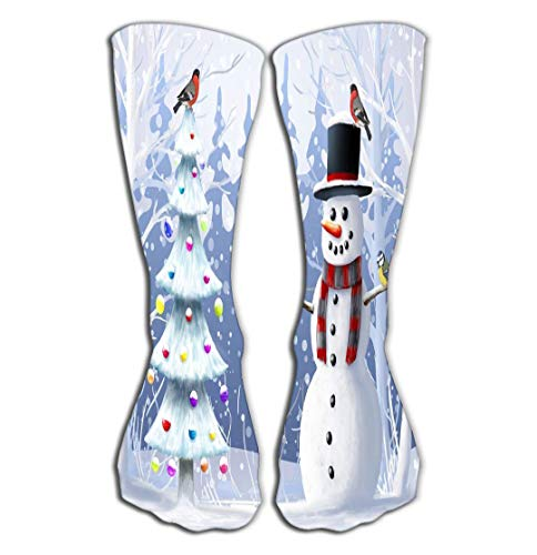 FbaPan Outdoor Sports Men Women High Socks Stocking Christmas Snowman Christmas Tree Wild Birds Winter Landscape Christmas Snowman Christmas Tree Wild Bird Tile Length 19.7