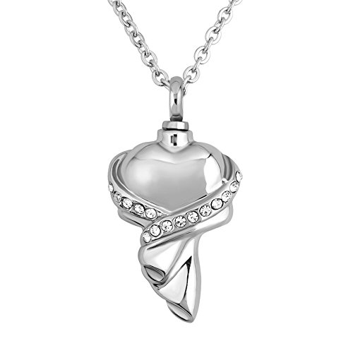 (CharmsStory White Simulated Birthstone Wrapped In Heart Love Ashes Pendant Jewelery Cremation Urn Memorial Necklace)