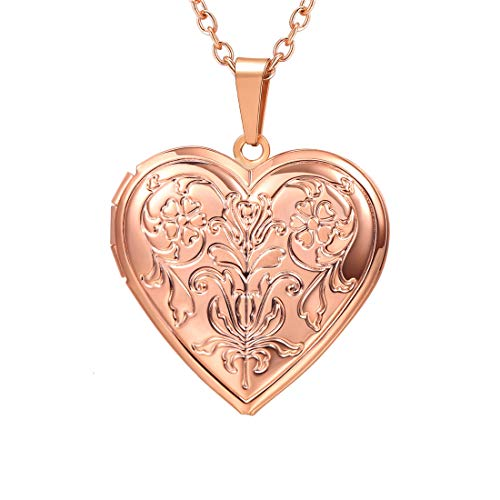 U7 Blooming Flower Locket Necklace Women Gift Grandma Necklaces Rose Gold Plated Vintage Heart Shape Photo Lockets Pendant