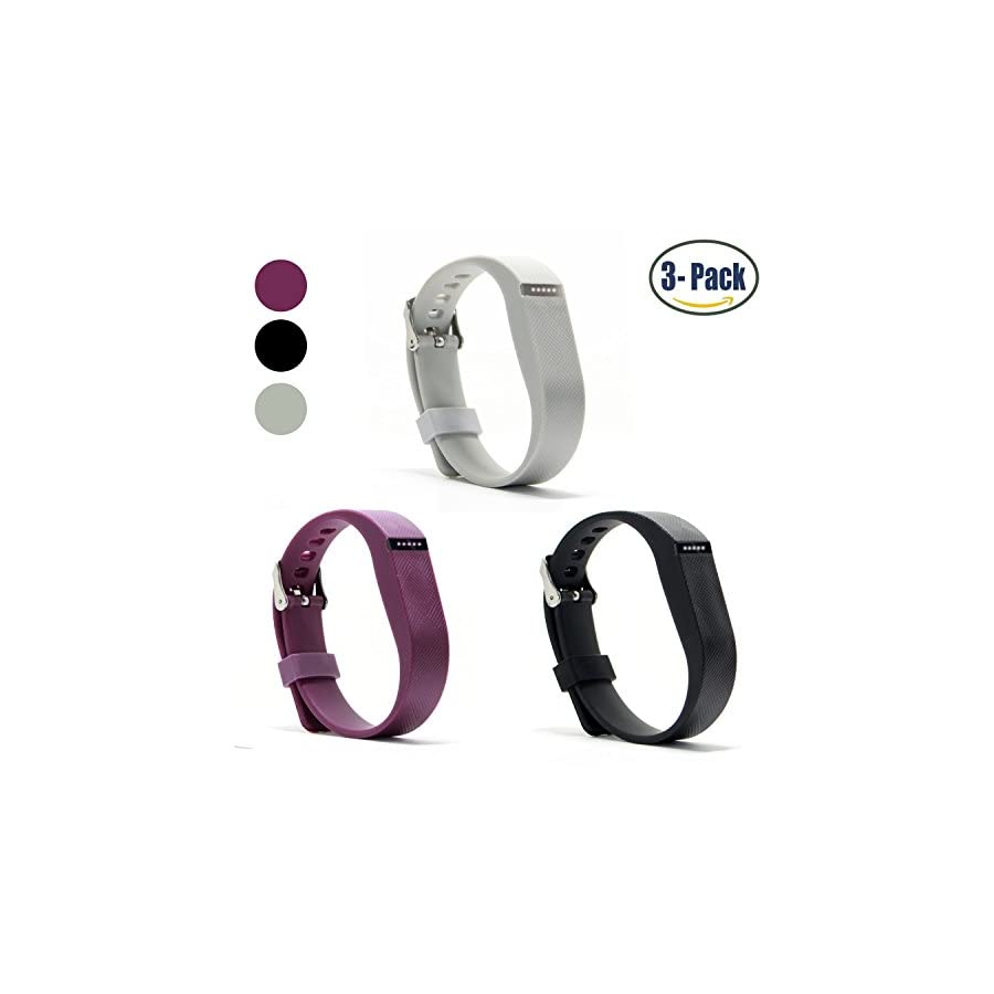 Hotodeal Replacement Bands Compatible with Fitbit Flex, Fashion Silicone Wristband Accessory, Colorful Band Design with Adjustable Metal Clasp, Prevent Tracker Falling Off, Cute Patterns, Comfortable, Pack of 3