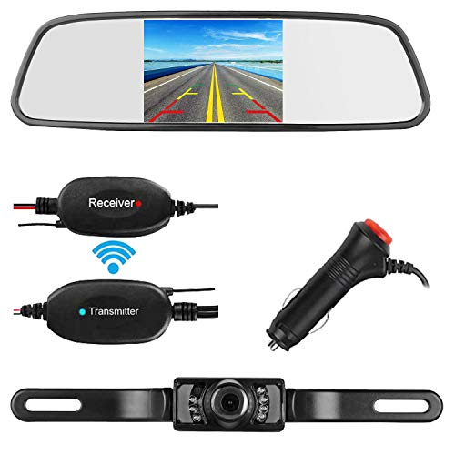(ZSMJ Backup Camera Wireless 5 inch Mirror Monitor Kit Parking Reverse Camera For Car Verhicle SUV RV Night vision Waterproof)