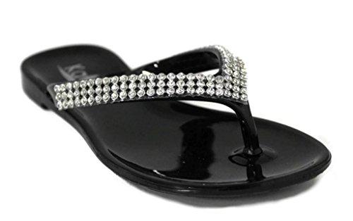 Kali Footwear Little Girl's Joy Jr. Rhinestone V-Strap Jelly Flip Flops 1