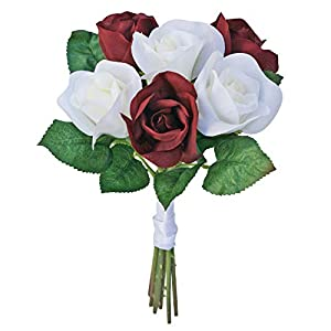 Burgundy and Ivory Silk Garden Roses- Wedding Bouquets for Bridesmaids - Fake Wedding Bouquet (Small) 100