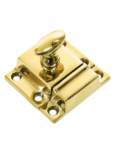 (Small Cast Brass Cupboard Latch with Oval Turn Piece in Unlacquered Brass)