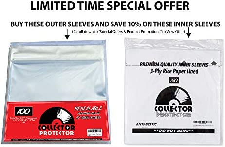 "Collector Protector Vinyl Record Sleeves for Your 12"" Record Covers 