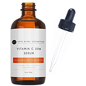 Vitamin C Serum for Face 20% with Hyaluronic Acid & Vitamin E by Kate Blanc. Anti-aging to Reduce Fine Lines, Wrinkles, Dark Spots, Scars, Acne. Tighter, Toned Skin. (1 oz)
