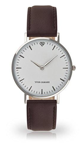 YVES CAMANI Amelie Women's Wrist Watch Quartz Analog Brown Leather Strap White Dial YC1097-A-723