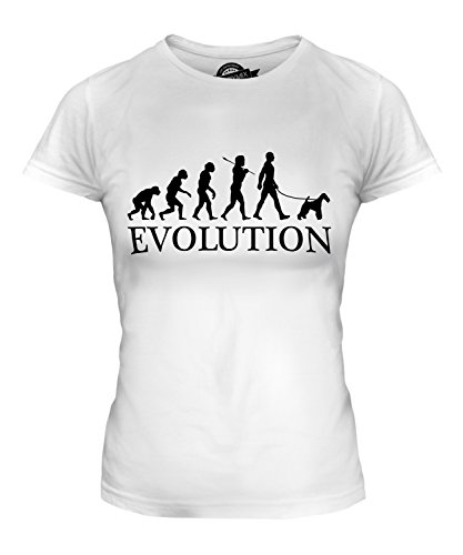 CandyMix Women's Wire Fox Terrier Evolution Of Man T Shirt Fitted T-Shirt Top, Size Large, Color (Wirehair Fox)