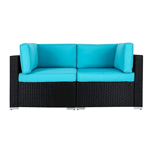 Fabulous Peach Tree Wicker Loveseats Patio Sectional Corner Sofa Rattan Outdoor Thick Sofa Set Pabps2019 Chair Design Images Pabps2019Com